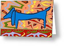 Abstract Blue Dachshund Greeting Card by Jerry Schwehm