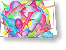 Abstract Flower Greeting Card by Jera Sky