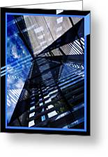 Abstract In Blue And Cement Greeting Card by Matthew Green