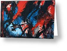 Abstract In Red Blue Black Greeting Card by Joe Michelli