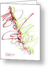 Abstract Pen Drawing Seventy Greeting Card by Lynne Taetzsch