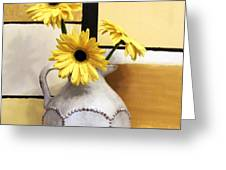 Abstract Yellow Daisies Greeting Card by Marsha Heiken