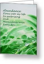 Abundance Affirmation Greeting Card by Irina Sztukowski
