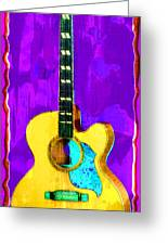 Acoustic Guitar Abstract Greeting Card by David G Paul