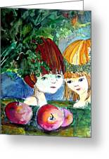 Adam And Eve Before The Fall Greeting Card by Mindy Newman