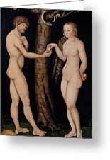 Adam And Eve In The Garden Of Eden Greeting Card by The Elder Lucas Cranach