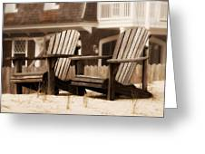 Adirondack Chairs On The Beach - Jersey Shore Greeting Card by Angie Tirado