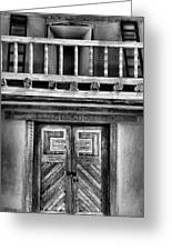 Adobe Church Door And Balcony Greeting Card by Steven Ainsworth