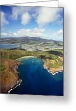 Aerial Of Hanauma Bay Greeting Card by Ron Dahlquist - Printscapes