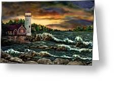 Ah-001-015 David's Point Lighthouse  - Ave Hurley Greeting Card by Ave Hurley