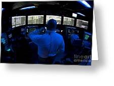 Air Traffic Controller Watches Greeting Card by Stocktrek Images