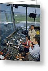 Air Traffic Controllers Direct Traffic Greeting Card by David Boyer