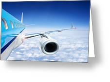 Airliner In Flight Above The Clouds Greeting Card by Corepics