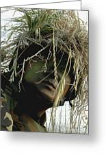 Airman Wearing A Ghillie Suit Greeting Card by Stocktrek Images