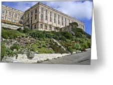 ALCATRAZ CELL HOUSE WEST FACADE Greeting Card by Daniel Hagerman