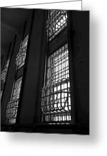 Alcatraz Federal Penitentiary Cell House Barred Windows Greeting Card by Daniel Hagerman