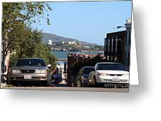 Alcatraz Island Through The Hyde Street Pier In San Francisco California . 7d13973 Greeting Card by Wingsdomain Art and Photography