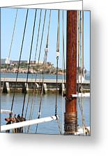Alcatraz Island Through The Hyde Street Pier In San Francisco California . 7d14148 Greeting Card by Wingsdomain Art and Photography