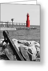 Algoma Lighthouse Is Anchored Greeting Card by Mark J Seefeldt