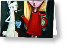 Alice A Tea Pot Greeting Card by LEANNE WILKES