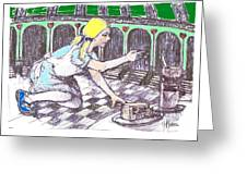 Alice Finds The Key Greeting Card by Herb Russel