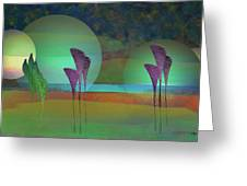 Alien Marsh Night Greeting Card by Anne Lacy