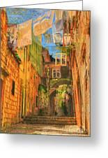 Alley In Croatia Greeting Card by Alberta Brown Buller