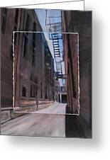 Alley With Fire Escape Layered Greeting Card by Anita Burgermeister