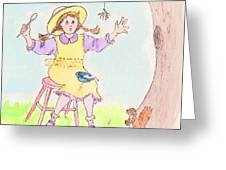Along Came A Spider Little Miss Muffet Greeting Card by Marybeth Friel-Patton