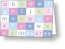 Alphabet Pastel Greeting Card by Michael Tompsett