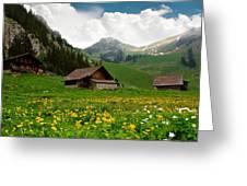 Alpine Huts - Switzerland Greeting Card by Kitty Bern