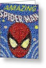 Amazing Spider-man Spidy Marvel Comics Mosaic Greeting Card by Paul Van Scott
