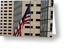 American Flag in the City Greeting Card by Blink Images