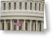 American Flag on the Capitol Building Greeting Card by Roberto Westbrook