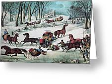American Winter 1870 Greeting Card by Photo Researchers
