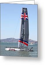 America's Cup In San Francisco - Great Britain Ben Ainslie Racing Sailboat - 5d18248 Greeting Card by Wingsdomain Art and Photography