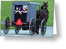 Amish Country Tour Greeting Card by Randy Matthews