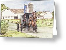 Amish Farm Horse And Buggy Greeting Card by Morgan Fitzsimons