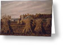 Amish Farm In Autumn Greeting Card by James Guentner