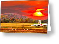 Amish Farm Sundown Greeting Card by Randall Branham