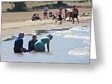 Amish Girls At The Beach Greeting Card by MB Matthews