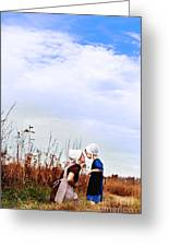 Amish Mother And Child Greeting Card by Stephanie Frey