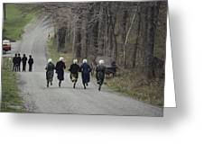 Amish People Visiting Middle Creek Greeting Card by Ira Block