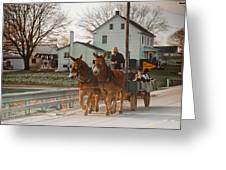 Amish Wagon Greeting Card by Heidi Reyher