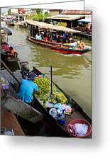 Ampawa Floating Market Greeting Card by Adrian Evans