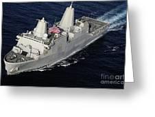 Amphibious Transport Dock Ship Uss San Greeting Card by Stocktrek Images