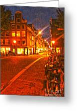 Amsterdam By Night - 02 Greeting Card by Gregory Dyer