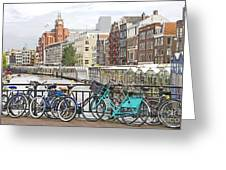 Amsterdam Canal And Bikes Greeting Card by Giancarlo Liguori