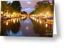Amsterdam Canal At Night Greeting Card by Gregory Dyer