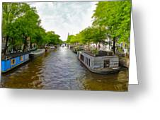 Amsterdam Canal Panorama Greeting Card by Gregory Dyer
